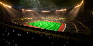 Футбольное поле арены стадиона ночи бесплатная иллюстрация