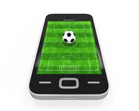 Футбольное поле в мобильном телефоне Стоковые Изображения RF
