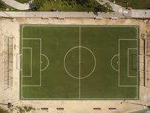 Футбольное поле сверху стоковые фотографии rf