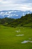 Футбольное поле с ландшафтом Стоковые Фото