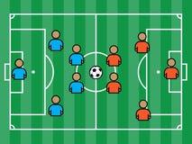 Футбольное поле с игроками и шариком Стоковая Фотография RF