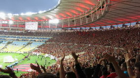 Футбольные болельщики на стадионе Maracana, Рио-де-Жанейро