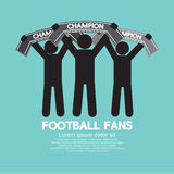 Футбольные болельщики с шарфами чемпиона иллюстрация штока