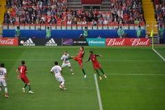 Футбольный матч между Португалией и Мексикой в Москве 2-ое июня 2017 Стоковые Изображения RF