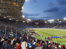 Футбольный матч призрения Olympic Stadium Рима Стоковые Изображения RF