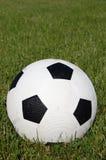 Футбольный мяч в поле травы Стоковые Фотографии RF