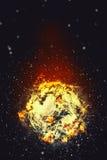 Футбольный мяч горя в пламенах иллюстрация вектора