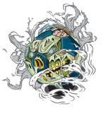 Футбольный мяч зомби рвя из предпосылки Стоковые Фотографии RF