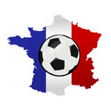 Футбольный мяч и карта Франции с Францией сигнализируют Стоковые Изображения