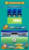 Футбольный мяч на пятне штрафа на стадионе и интерфейс для игры - Архив вектора Стоковая Фотография