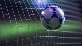 Футбольный мяч ломая сеть - замедленное движение иллюстрация штока