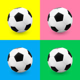 Футбольный мяч/футбол установленный на красочные предпосылки Стоковое Изображение RF