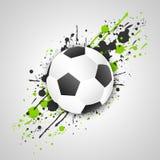 Футбольный мяч (шарик футбола) с влиянием grunge вектор Стоковое Изображение RF
