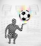 Футбольный мяч holdig костюма тела человека полностью Стоковые Изображения