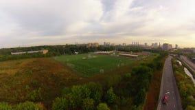 Футбольный стадион, вид с воздуха видеоматериал
