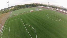 Футбольный стадион, вид с воздуха акции видеоматериалы