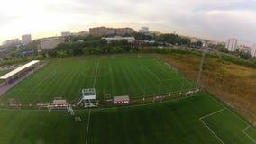 Футбольный стадион, вид с воздуха сток-видео