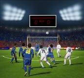 Футбольный стадион перед командой match.football в игре стоковое фото