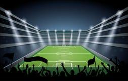 Футбольный стадион с светами пятна Стоковое Изображение