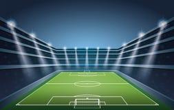 Футбольный стадион с светами пятна Стоковое Изображение RF