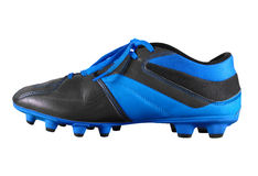 Футбол boots изолированная - свет - синь Стоковое Фото