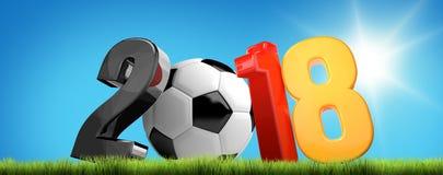 футбол 2018 3D представляет символ Стоковая Фотография