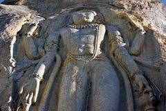 9 футов высокой скульптуры Maitrya Будды, Mulbek Chamba, Mulbek-Kargil, Ladakh, Индии Стоковые Изображения