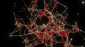 Футуристическая анимация с накаляя треугольниками в замедленном движении, 4096x2304 петле 4K иллюстрация штока