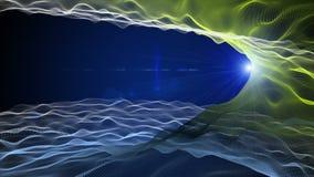 Футуристическая анимация eco с объектом волны и моргать свет в замедленном движении, 4096x2304 петле 4K иллюстрация вектора