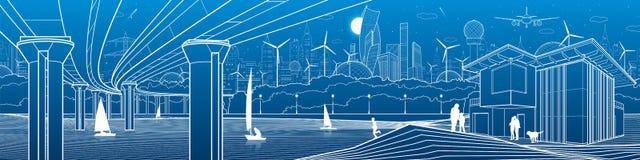 Футуристическая городская жизнь Панорама инфраструктуры Промышленная иллюстрация Большой мост автомобиля Люди на речном береге са Стоковое Изображение RF