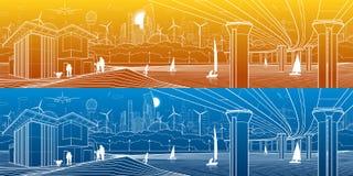 Футуристическая городская жизнь Панорама инфраструктуры Промышленная иллюстрация Большой мост автомобиля Люди на речном береге са Стоковые Фото