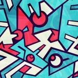 Футуристическая голубая безшовная картина с влиянием grunge иллюстрация штока