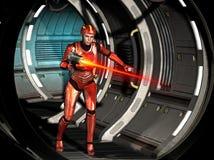 футуристическая девушка воина, снимая с тяжелым оружием внутри космического корабля, иллюстрация 3d иллюстрация штока
