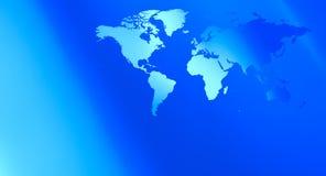 Футуристическая предпосылка сини карты мира технологии Стоковая Фотография