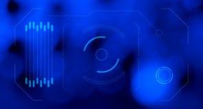 Футуристическая предпосылка сини экрана hologram HUD Стоковая Фотография RF