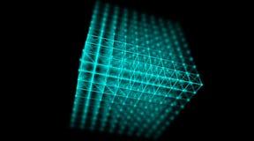 Футуристическая сеть мира соединения куба кибер технологии, компьютер, кабели волокна виртуальные оптические, соединение волокна Стоковые Изображения RF