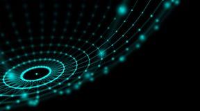 Футуристическая сеть мира соединения сферы кибер технологии, компьютер, кабели волокна виртуальные оптические, соединение волокна Стоковые Фотографии RF