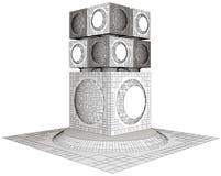 Футуристическая структура небоскреба города мегаполиса Стоковое фото RF