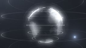 Футуристическая сфера точек Интерфейс глобализации Чувство графиков науки и техники абстрактных перевод 3d иллюстрация штока