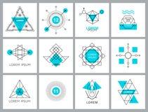 Футуристические геометрические элементы и логотипы битника Стоковая Фотография