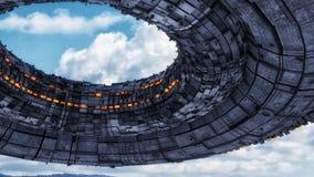 Футуристические космический корабль и небо чужеземца иллюстрация вектора