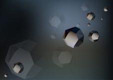 Футуристические низкие поли утесы - астероиды в космосе Стоковое Изображение