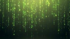 Футуристические номера цифров зеленые падая вниз предпосылка сток-видео