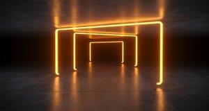 Футуристические света неоновой трубки Sci Fi оранжевые накаляя в конкретном Fl иллюстрация вектора