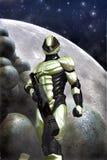 Футуристические солдат и луна Стоковое Фото