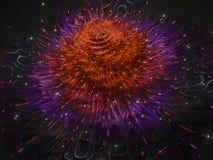 Футуристические фрактали абстрактные, дизайн цветка элегантный, цифровое орнамента цветеня графическое волшебное представляют диз стоковое изображение rf