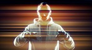 Футуристический виртуальный хакер похитителя Стоковое Изображение