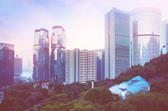Футуристический город Гонконг Стоковая Фотография RF