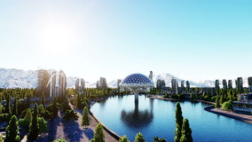 Футуристический город, городок Архитектура будущего вид с воздуха Супер реалистическая анимация 4K бесплатная иллюстрация