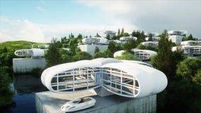 Футуристический город, деревня Концепция будущего вид с воздуха Реалистическая анимация 4K иллюстрация вектора